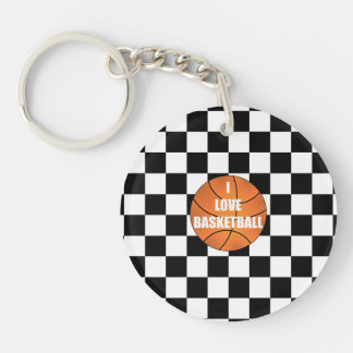 I love basketball black white checkers Double-Sided round acrylic key ring