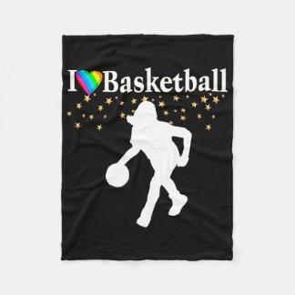 I LOVE BASKETBALL DESIGN FLEECE BLANKET