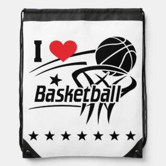 I Love basketball Drawstring Bag