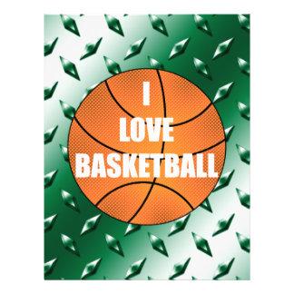 I love basketball green diamond steel plate 21.5 cm x 28 cm flyer