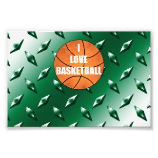 I love basketball green diamond steel plate photographic print
