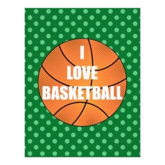 I love basketball green polka dots 21.5 cm x 28 cm flyer