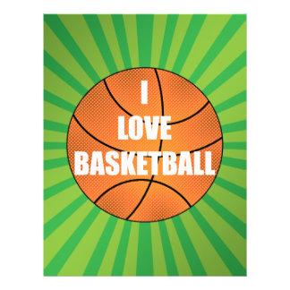 I love basketball green sunburst 21.5 cm x 28 cm flyer