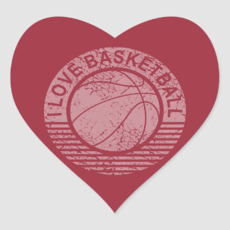 I love basketball grunge heart sticker