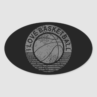 I love basketball grunge oval sticker