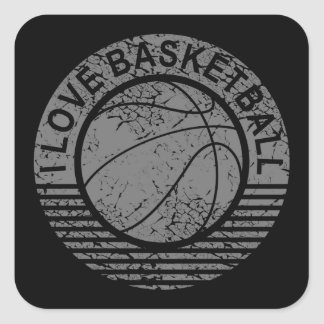 I love basketball grunge square sticker
