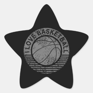 I love basketball grunge star sticker