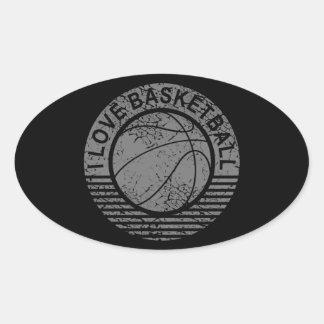 I love basketball grunge oval sticker