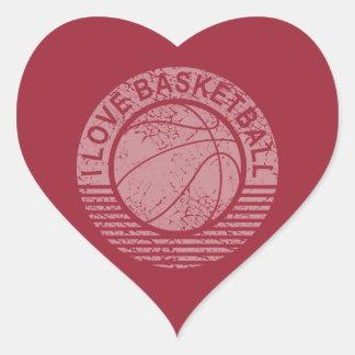 I love basketball grunge heart sticker