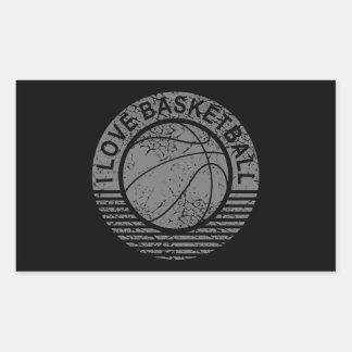 I love basketball grunge rectangular sticker