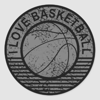 I love basketball grunge classic round sticker