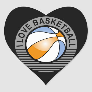I love basketball heart sticker