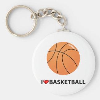I Love Basketball Basic Round Button Key Ring
