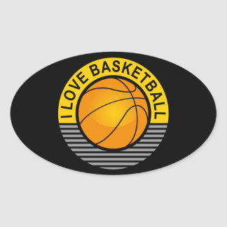 I love basketball oval sticker