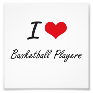 I Love Basketball Players Artistic Design Photo Print