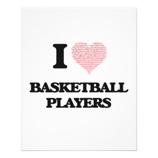 I love Basketball Players (Heart made from words) 11.5 Cm X 14 Cm Flyer