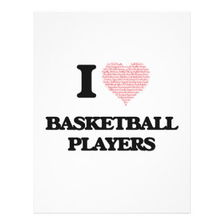 I love Basketball Players (Heart made from words) 21.5 Cm X 28 Cm Flyer