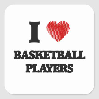 I love Basketball Players (Heart made from words) Square Sticker