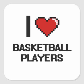 I love Basketball Players Square Sticker