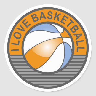 I love basketball round sticker