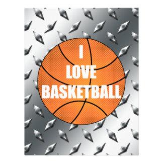 I love basketball silver diamond steel plate 21.5 cm x 28 cm flyer