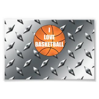 I love basketball silver diamond steel plate photo art