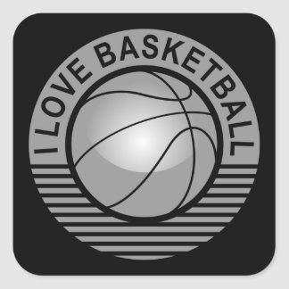 I love basketball square sticker