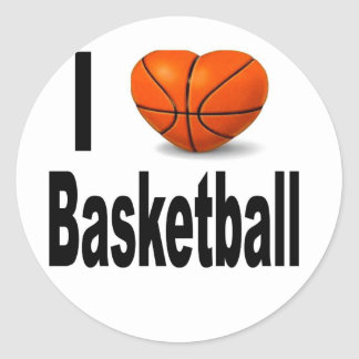 I Love Basketball Round Sticker