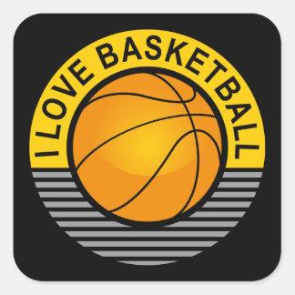 I love basketball square sticker