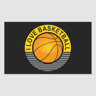 I love basketball rectangular sticker