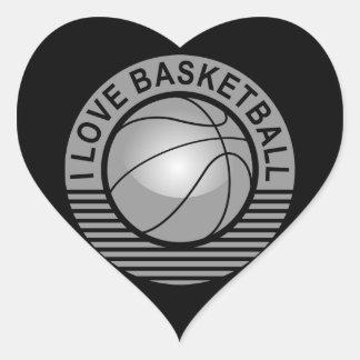I love basketball heart sticker