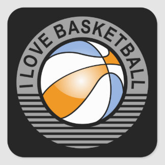 I love basketball square stickers