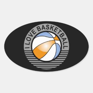 I love basketball oval stickers