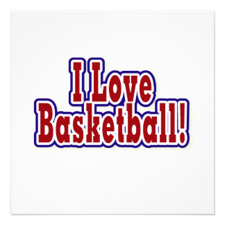 I Love Basketball T shirts and Gifts Personalized Invitation
