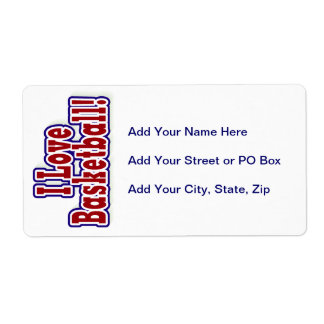 I Love Basketball T shirts and Gifts Shipping Label