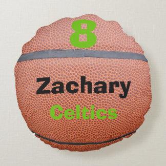 I Love Basketball Team Player Round Pillow