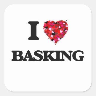 I Love Basking Square Sticker