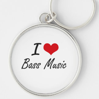 I Love BASS MUSIC Silver-Colored Round Key Ring