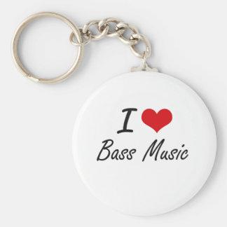 I Love BASS MUSIC Basic Round Button Key Ring