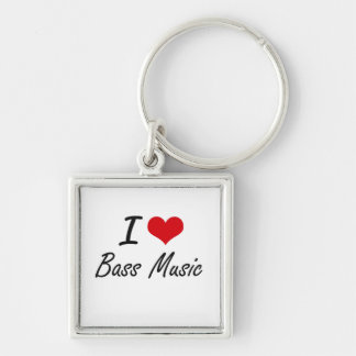 I Love BASS MUSIC Silver-Colored Square Key Ring
