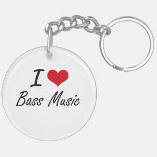 I Love BASS MUSIC Double-Sided Round Acrylic Key Ring