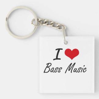 I Love BASS MUSIC Single-Sided Square Acrylic Key Ring