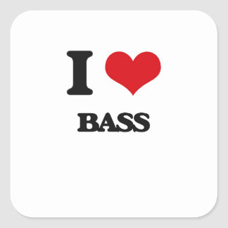 I Love Bass Square Stickers