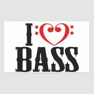 I Love Bass, with bass clef Heart Rectangular Sticker
