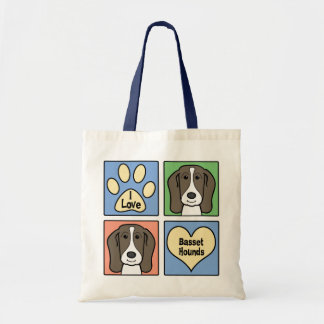 I Love Basset Hounds Tote Bag