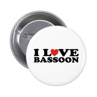 I Love Bassoon 6 Cm Round Badge