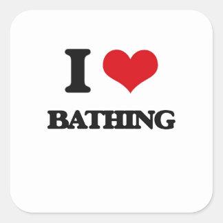 I Love Bathing Square Sticker