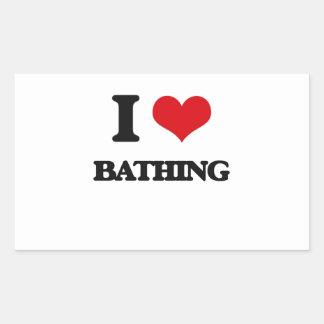I Love Bathing Rectangular Stickers
