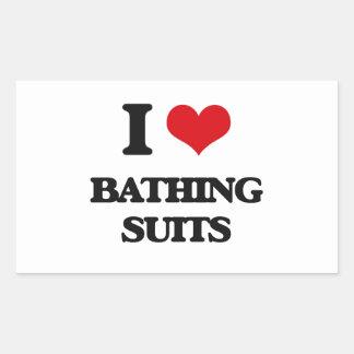 I Love Bathing Suits Rectangular Sticker