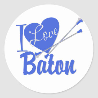 I Love Baton Classic Round Sticker